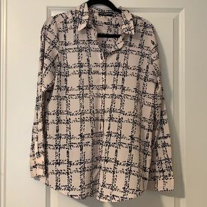 KARL LAGERFELD button down pink and navy size M